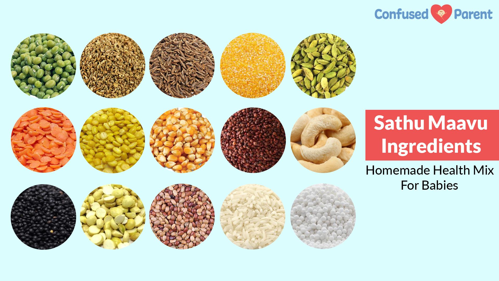 Health Mix Recipe Sathu Maavu Ingredients